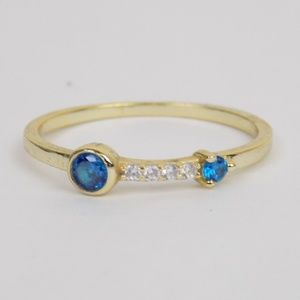 Jewelry - dainty gold stacking ring blue crystals